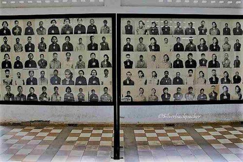 Black and white prisoner photos displayed at Tuol Sleng Genocide Museum
