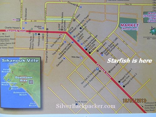Map of Sihanoukville showing starfish