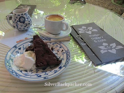 Afternoon coffee and chocolate brownie at Starfish Bakery