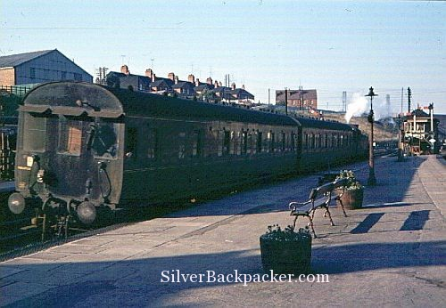 A 1964 shot of a Kettering to Northampton push-pull train running into Wellingborough Midland Road station