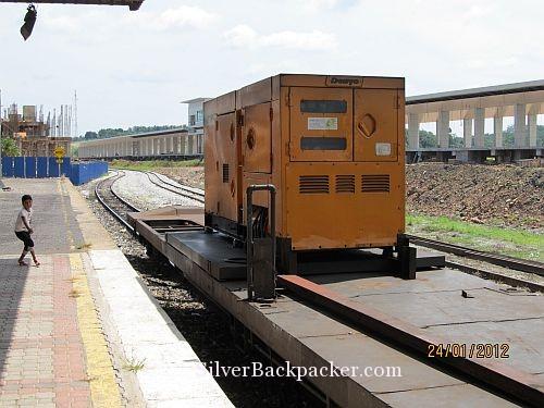 Generator wagon on train at Gemas