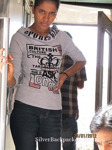 Indian passenger with a great sweatshirt at Gemas