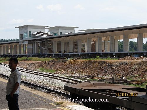 Malaysian Railways are updating the infrastructure. The new station at Gemas