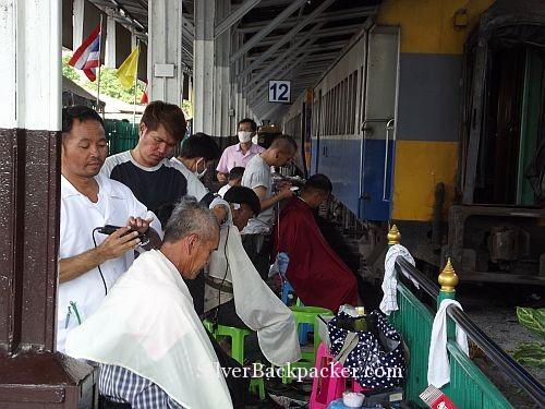 Barbers Shop on platform Bangkok