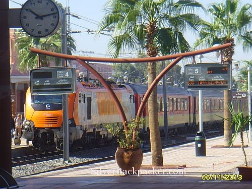 Train arriving at Marrakesh