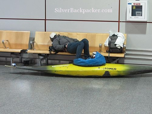 airport sleeping with kayak