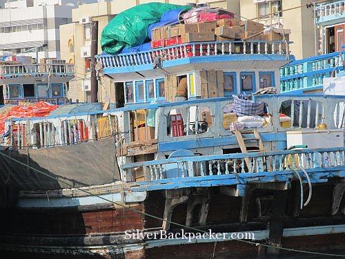 Dhow laden with goods Dubai Creek