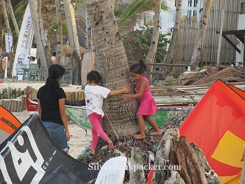 Kids playing Bulabog Beach