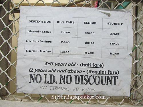 Ticket Prices Libertad to Mindoro