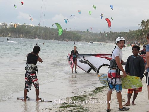 Windsurfers on Bulabog Beach