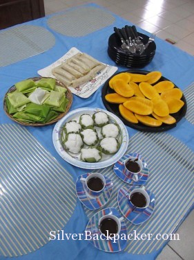 Breakfast laid out in Miagao