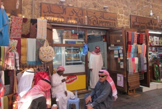 wearing keffiyahs Traditional dress in Dubai teashop