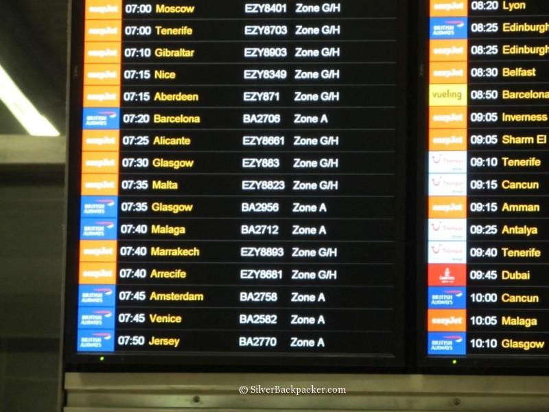 Destination Departure Board at Gatwick Airport