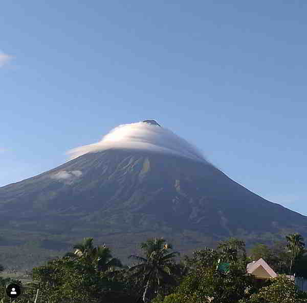 swirling clouds around mayon volcano