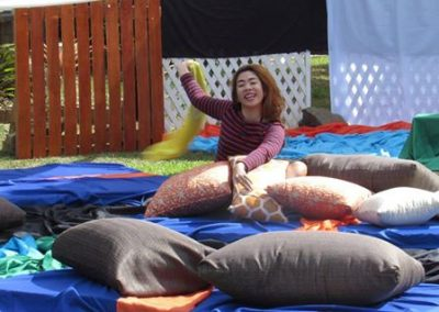 Levy of Hugging Horizons enjoying the Scatter Cushion area of Crystal Waves Resort