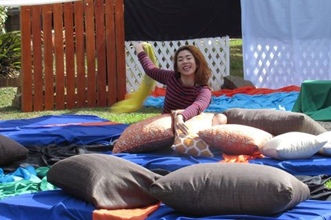 Levy of Hugging Horizons enjoying the Scatter Cushion area of Crystal Waves Resort. Summer getaways