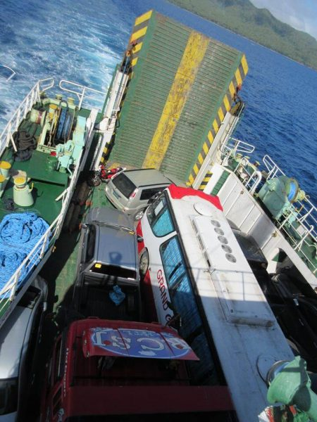 RORO carrying vehicles Leyte to Surigao