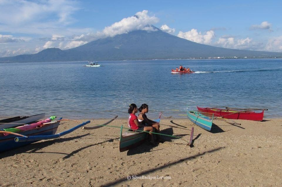 View of mayon volcano from san miguel island. tabak festival