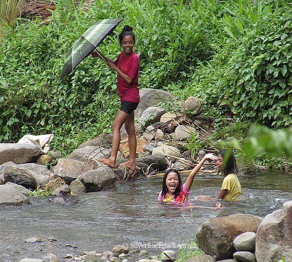 Local teenagers enjoying pools on way to Oras Falls