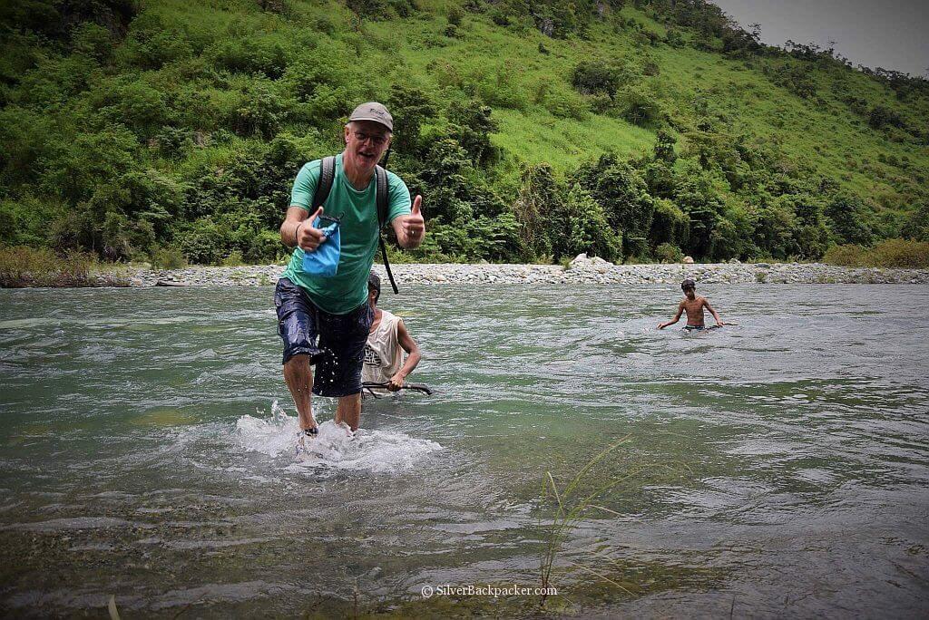 Another river crossing safely made. Maar-Arbis Falls, Lagayan, Abra