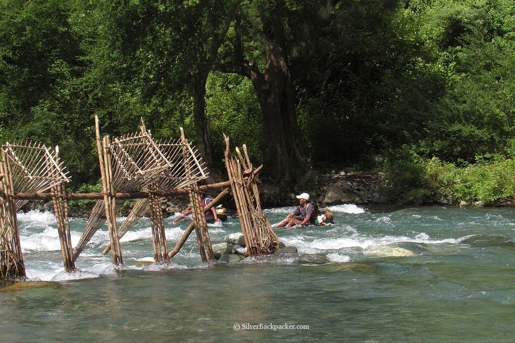 Fishermen and Fishtraps Maar-Abis Falls, Lagayan
