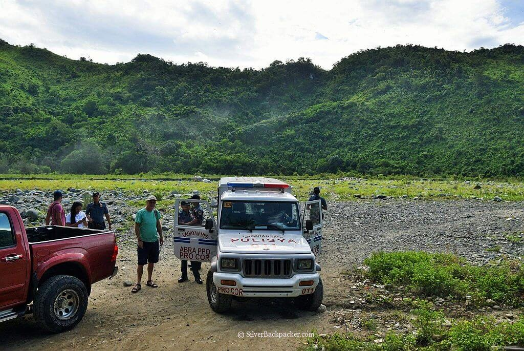 Police Escort to Jump off Point for hike to Maar-Arbis Falls, Lagayan, Abra