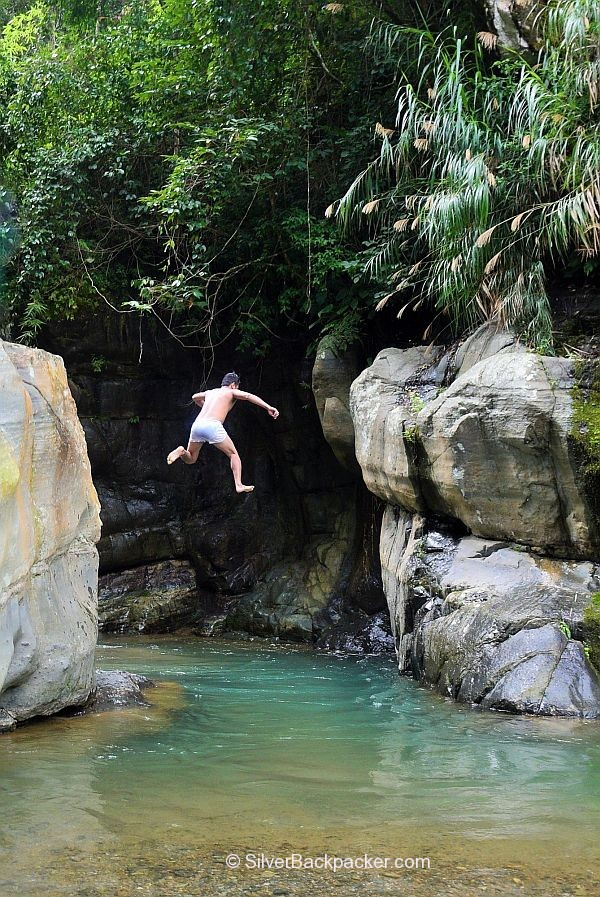 Cliff Jumping into Malanas River, Kinaud Rock Formations, Malibcong, Abra
