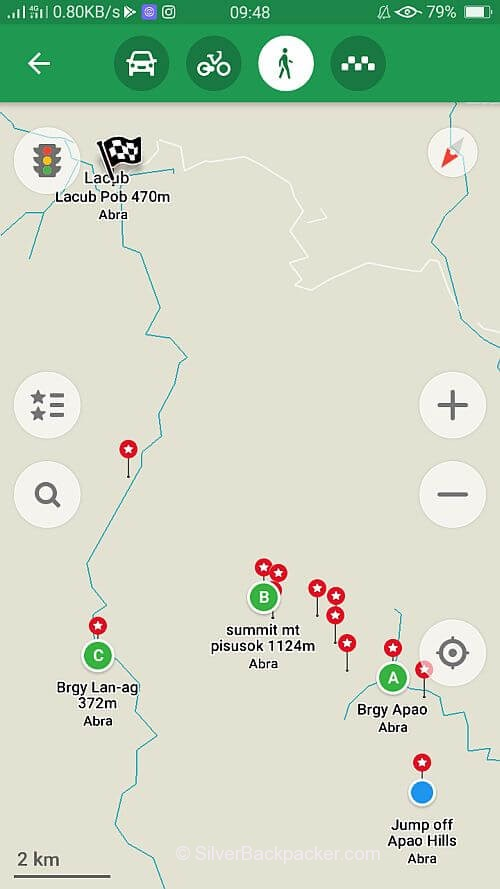 GPS Plotter Tineg to Lacub Traverse via Mt Pisusok Summit, Abra