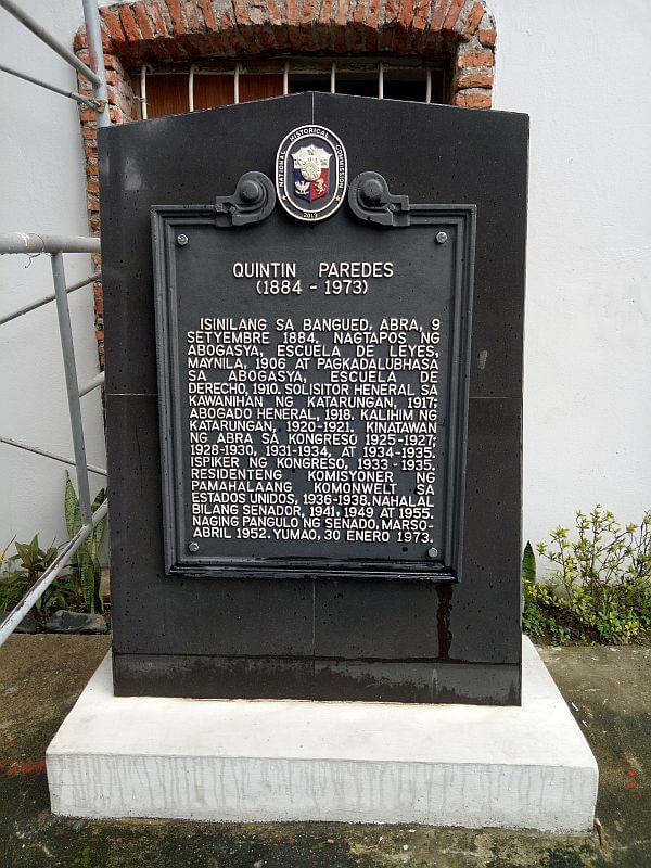 Marker of Quintin Paredes House, Bangued, Abra