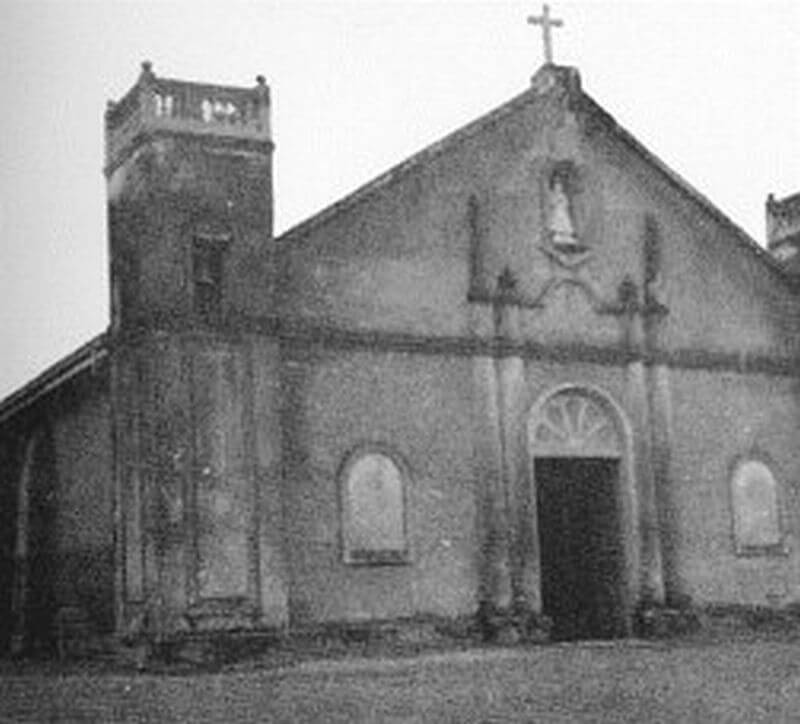 Our Lady of Peace Church, La Paz, Abra with two bell towers b&w