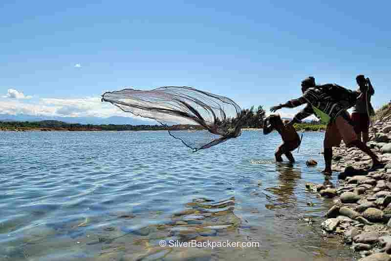 Throw Net with weights used for Fishing on the Abra River