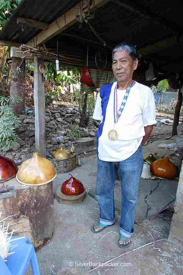 Teofilo Garcia Tabungaw Hat Maker wearing his National Living Treasure medal
