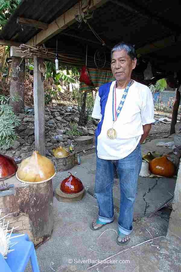 Teofilo Garcia Tabungaw Hat Maker wearing his National Living Treasure medal
