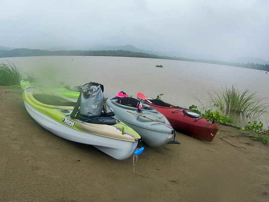 Hull & Stern Adventure bag on kayaks, abra river, Abra