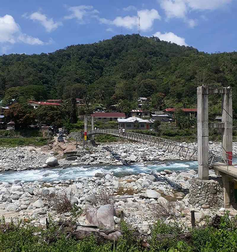 Hanging Bridge connecting Bucloc and Daguioman across the Bucloc River, Abra, Philippines