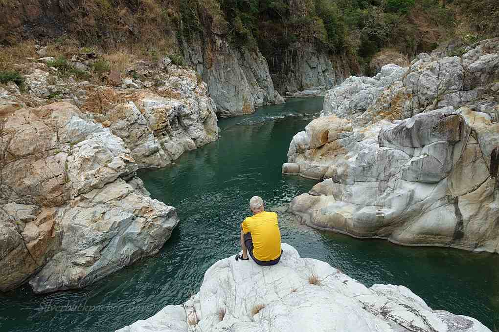 Sitting on Cliff Jump Rock, Piwek Rock Formations, Binongan River, Alaoa, Tineg Abra