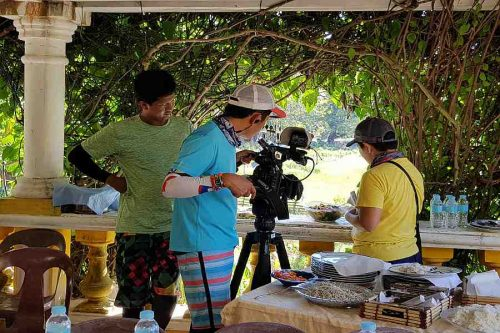 Biyahe Ni Drew film crew at work shooting the Abrenian Delicacies
