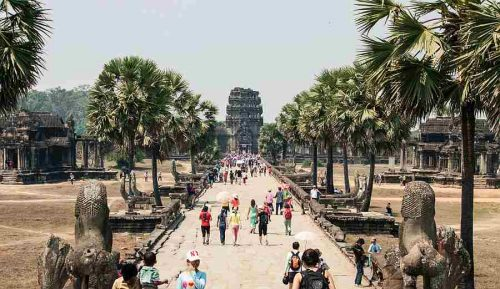 Tourists entering Angkor Wat, Siem Reap Cambodia