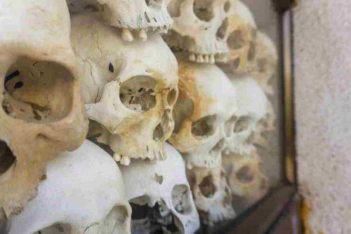 Skulls in the Tuol Sleng Museum, Phnom Phen, Cambodia