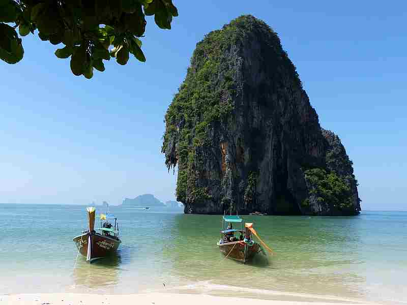 boats beached near Krabi, Thailand