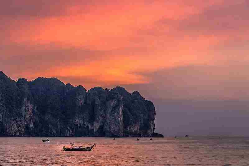thailand, Krabi sunset with boats on sea
