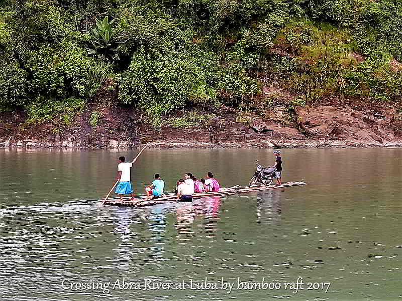 Crossing abra river by bamboo raft at Luba, Abra