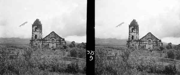 Old Daraga townsite, Albay. May 14 1934. Buried church. Glimpse of Mayon Volcano thru clouds. 9 125 F. Verichrome 6 x 13.