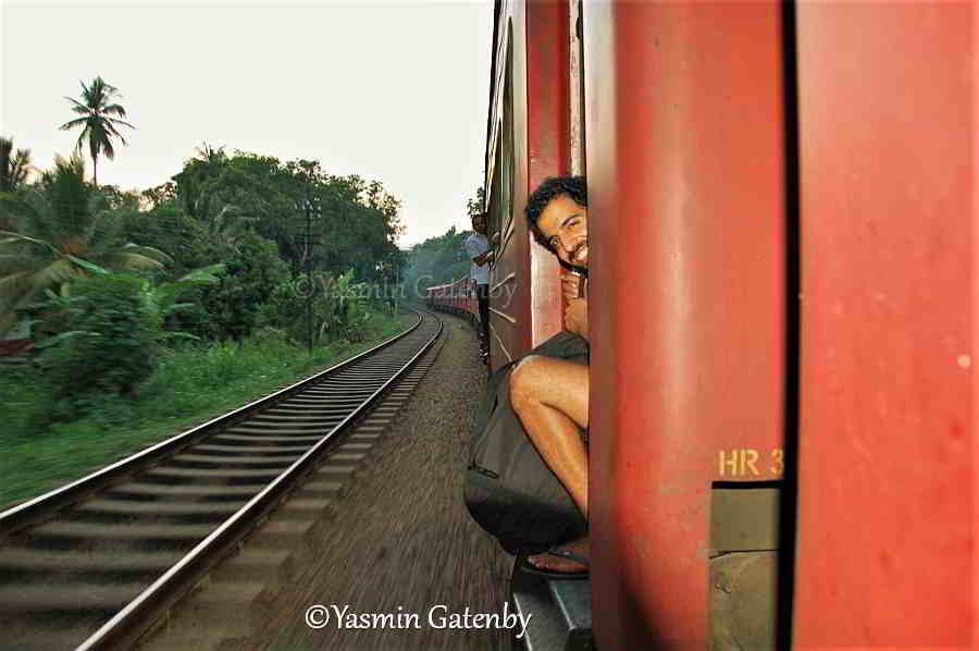 Riding a train in Sri Lanka