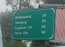 Kalinga distances to towns. Route 204 Abra