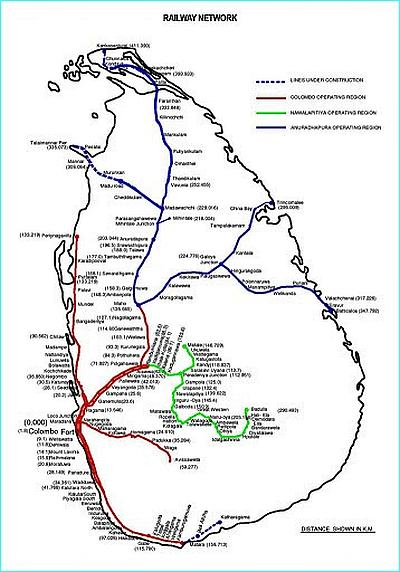 Map of Sri Lankan Railways