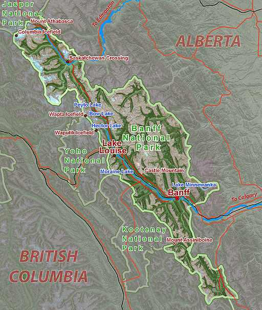 Map of Banff, Places to visit in Canada