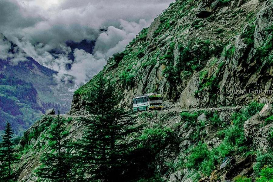 A-bus-on-the-road-to-Chitkul-Himachal-Pradesh. Offbeat India