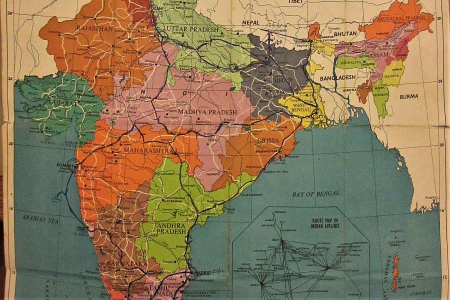Map of India 1977