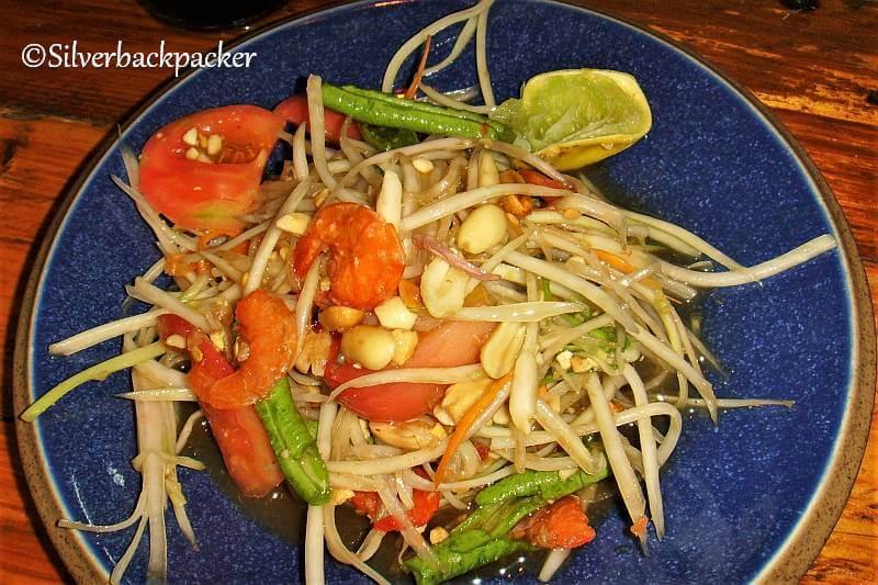 Som Tam, Green Papaya Salad. Bangkok street food